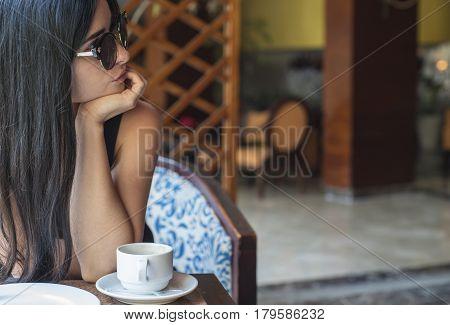 Beautiful Girl. Pensive Girl With A Coffee.