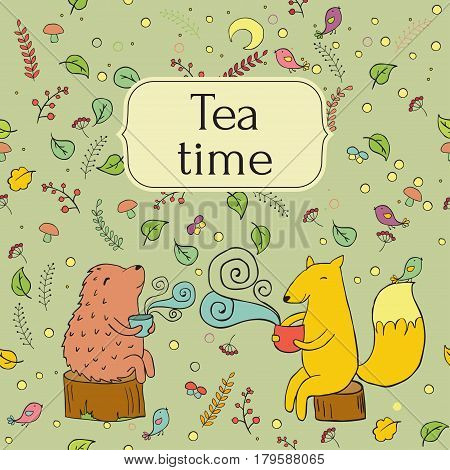 cozy lable card for tea, forest, tea, fox and hedgehog