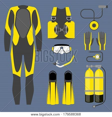 Set of diving equipment icon. Wetsuit, scuba gear and accessories Underwater activity sports item. Vector isolated on white background.