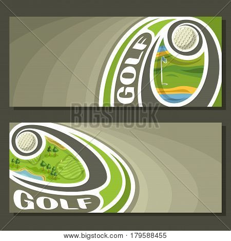 Vector banners for Golf game: golf ball flying on curve trajectory above course field in hole with flag, 2 tickets to sporting tournament with empty field for title text on gray abstract background.