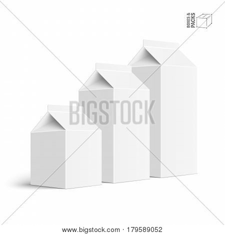 Set of juice and milk blank white carton boxes. Isolated object. Vector illustration. Mock-up packages