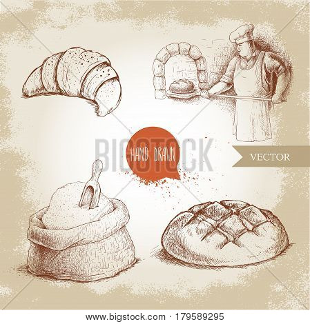 Hand drawn set bakery illustrations. Baker making fresh bread in stone ovencroissant fresh bread loaf wheat flour sack with wooden scoop.