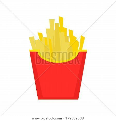 Fast food, French fries, tasty street food. French fries in paper box, isolated flat design. French fries fast food in a red package.