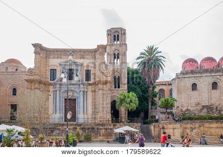 The Church Of Santa Maria Dell'ammiraglio, Commonly Called The Martorana And San Cataldo In Palermo