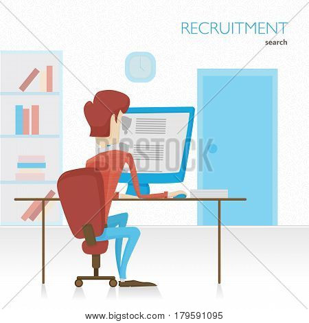 Agent HR searches for employees. Viewing summary. Meets with potential employees. Recruitment. Flat vector illustration