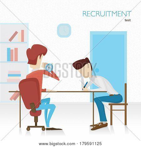 Employer arranges a survey in hiring. Tests. Tasks. Color flat vector illustration