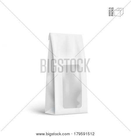 Mockup food bag package with window. Pack for Coffee, Tea, Salt, Sugar, Pepper, Spices Or Flour, Filled, Folded. Template for your design and branding.