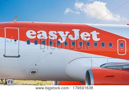 Manchester Airport, United Kingdom - February 7, 2017: EasyJet G-EZFS Airbus A319-111 - cn 4129 moments after arrival.