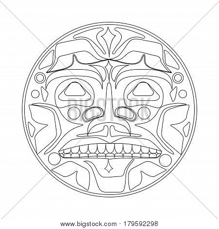 Vector illustration of the sun symbol. Modern stylization of North American and Canadian native art with native ornament