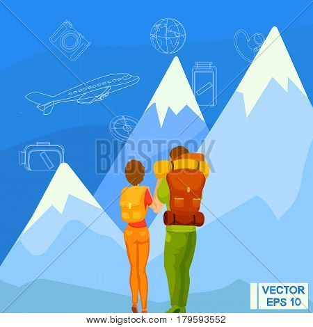 Travelers Look At The Mountains