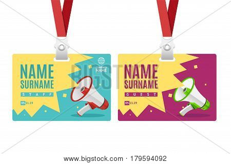 Id Card Template Plastic Badge with Megaphone or Loudspeaker . Vector illustration