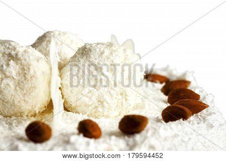 White birthday cake over white background. Isolated on white.