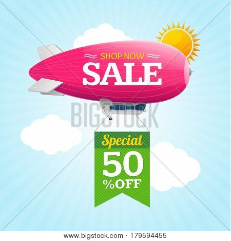 Sale Concept Labels with Airship Zeppelin in Sky Special Offer. Vector illustration