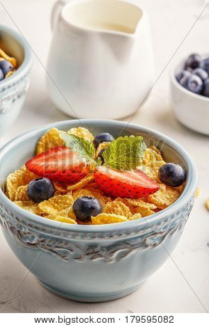 Healthy Breakfast - Corn Flakes With Fruits And Berries.