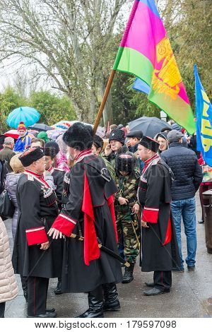 Volgograd, Russia - November 04.2016. Cossacks at the celebration of the Day of National Unity
