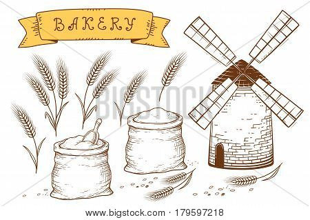 hand drawn bakery set with mill, sacks with flour and spikelets