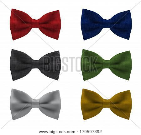 Set of bowties in different colors, trendy necktie for official ceremony, classic garment butterfly for formal wear, realistic vector illustration, isolated on white background