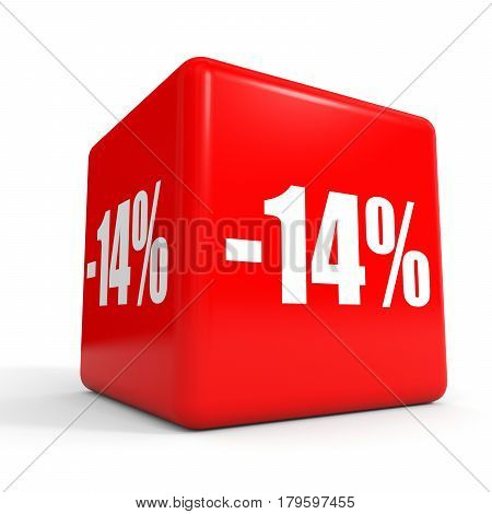 Fourteen Percent Off. Discount 14 %. Red Cube.