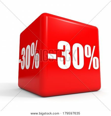 Thirty Percent Off. Discount 30 %. Red Cube.