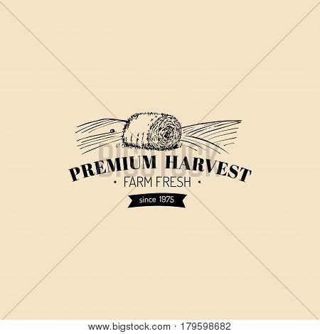 Vector retro farm fresh logotype. Organic premium quality products logo. Eco food sign. Vintage hand sketched haystack icon.