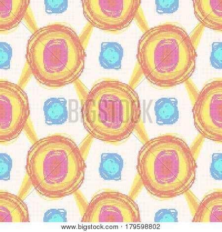 Seamless pattern - decorative embroidery with circles in doodle style. Cross-stitch. Vector.