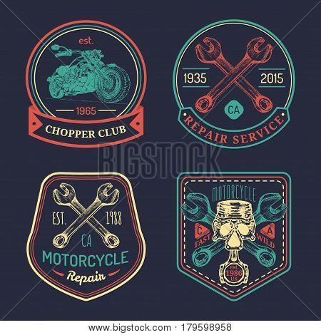 Vector vintage biker club signs. Motorcycle repair logos set. Retro hand sketched garage labels. Custom chopper store emblems.