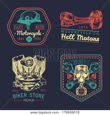 Vector vintage biker club signs. Motorcycle repair logos set. Retro hand sketched garage labels. Custom chopper store emblems.