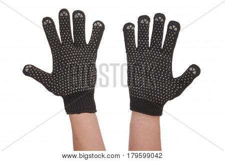 Gardener hand in resistance glove which is located at the bottom of the screen isolated on white background