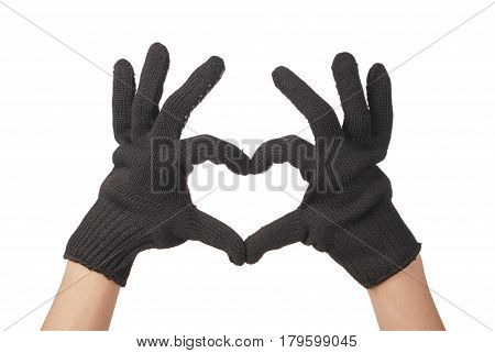Two gardener hand in resistance glove that show heart isolated on white background