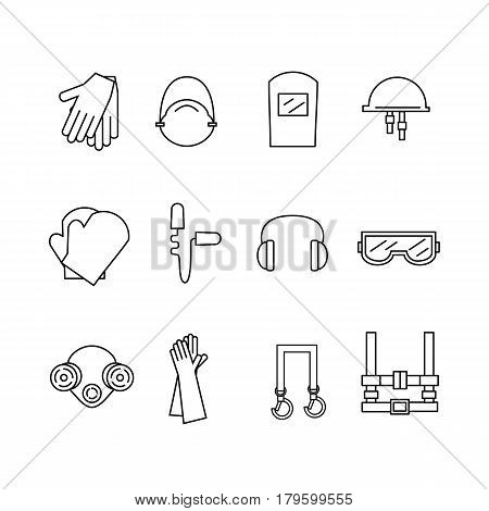Protective equipment for eyes head ears hands lungs and the body. Body protection and health. Vector illustration.