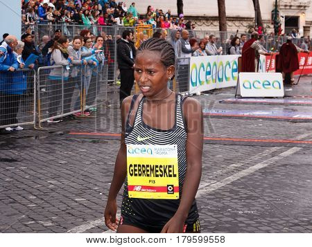 Rome Italy - April 2 2017: Gebremeskel Ababa Tekulu took third place in the women's race the 23 ^ Rome Marathon. Gebremeskel on his arrival at the finish line.