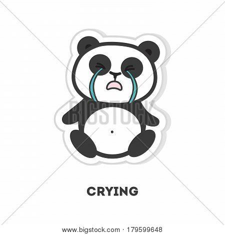 Isolated crying panda sits on white background.