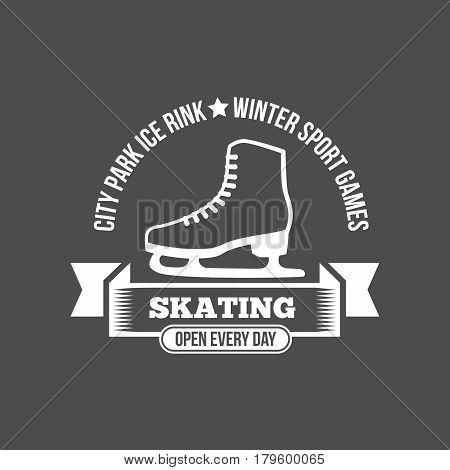 Ice Skate label logo design. Ice skating boot, speed scating, figure skating. Winter sports. Retro logo design. Old school sport logo. Monochrome badges.