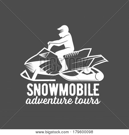 Set of winter snowmobile emblems. Snowmobile badges and icons. Winter sports. Retro logo design. Old school sport logo. Monochrome badges.