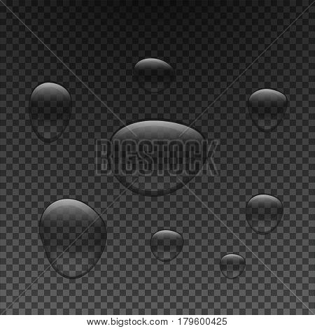Drops of water of different sizes. Droplets of clear liquid on a dark transparent background. Vector illustration.