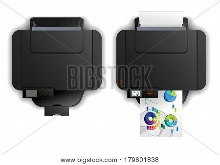 Vector color illustration of multi-functional Inkjet printing isolated on white background. top view. Solid fill only no gradients.