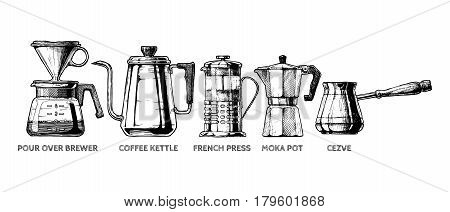 Vector hand drawn illustration set of coffee preparation. Pour over brewer coffee kettle french press moka pot and cezve.