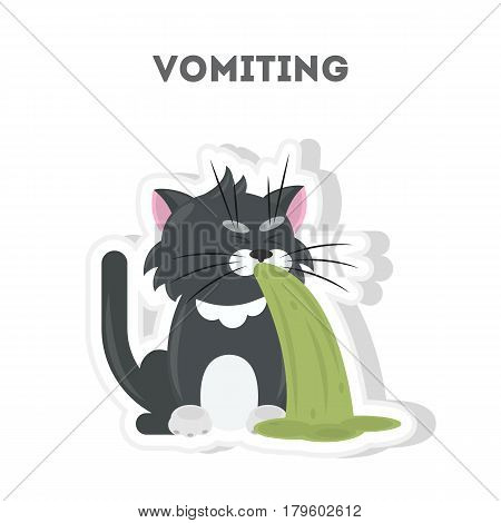 Isolated vomiting cat. Cute funny character on white background.