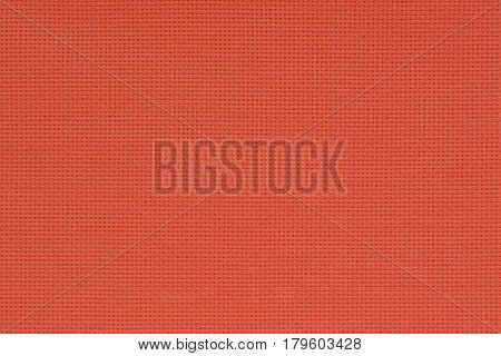 Red Natural Cotton Fabric. Aida Texture For The Background.