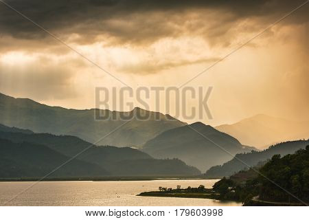 Beautiful sunset sky over the Phewa Lake in Pokhara, Nepal