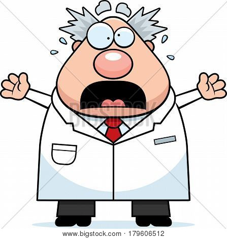 Scared Cartoon Mad Scientist