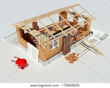 Model house on the table.3d render