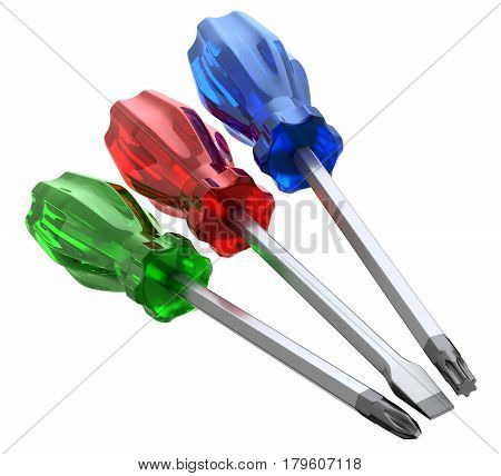 Set of screwdrivers with different heads isolated on white background - 3D illustration