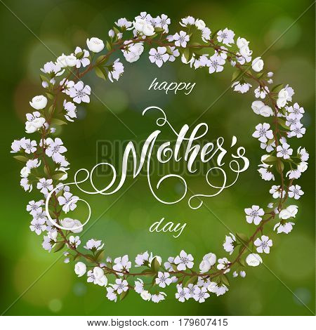Mothers Day greeting card. Blossom tree background, spring holidays. Vector Illustration EPS10