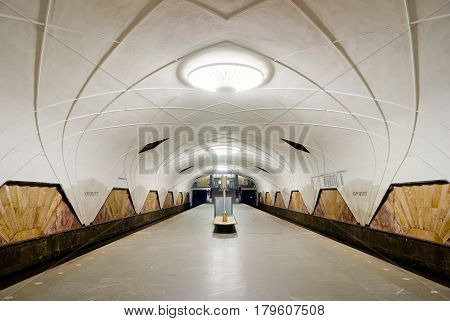 MOSCOW - MAY 17: Interior of the metro station Aeroport on May 17, 2012 in Moscow, Russia. Metro station Aeroport is a great monument of the Soviet era.