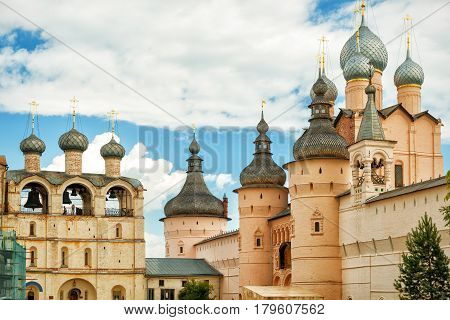 The Rostov Kremlin, Golden Ring of Russia. Kremlin of ancient town of Rostov the Great included in World Heritage list of UNESCO.