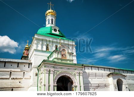Trinity Lavra of St. Sergius in Sergiyev Posad near Moscow, Russia. The Holy Trinity Lavra is one of the greatest of Russian monasteries and is site of the Golden Ring of Russia.