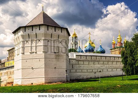 Trinity Sergius Lavra in Sergiyev Posad near Moscow, Russia. The Trinity Lavra is one of the greatest of Russian monasteries and is part of the Golden Ring of Russia.