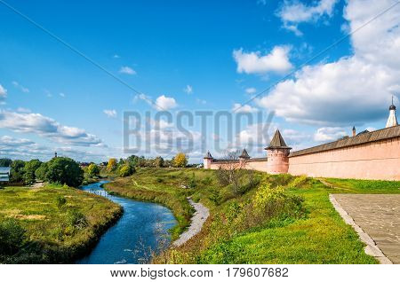 Panorama of ancient town of Suzdal, Russia. St. Euthymius Monastery. Suzdal is a site of the Golden Ring of Russia.