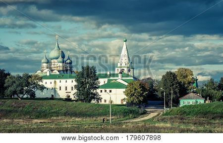 Suzdal Kremlin in the evening. Ancient town of Suzdal is part of Golden Ring of Russia and site of UNESCO.